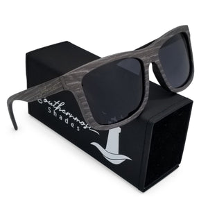Striped Wood Flat Front Sunglasses with Dark Lenses - (54mm Lenses) Size Large - southernmostshades.com