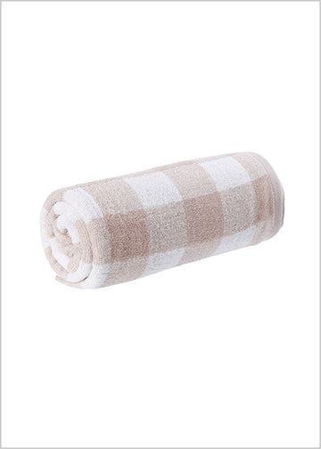 Miniso Simple Plaid Bath Towel- Beige 100040421