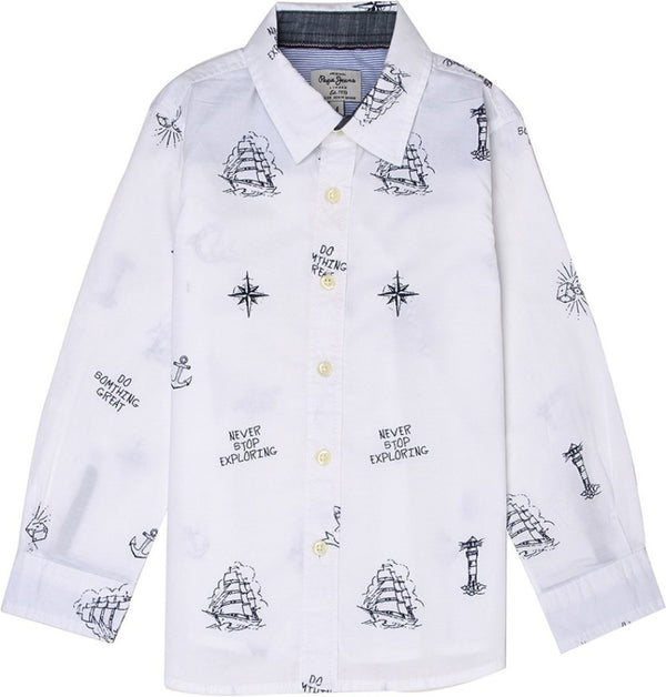 Pepe Jeans Paxton Ls Ip PB302015 WHITE Shirt Short Sleeve Young Boys