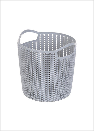 Miniso Small Plaited Round Storage Bucket (Dark Grey 2006934911106