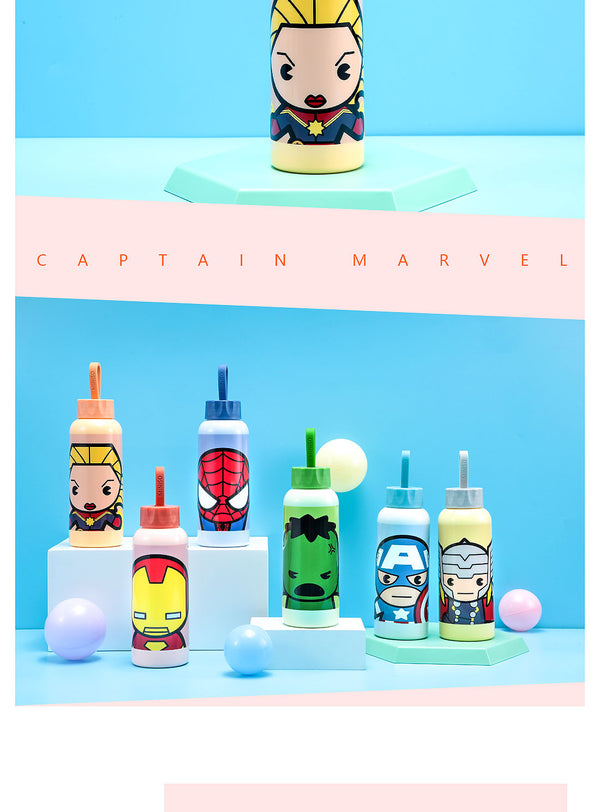 Miniso MARVEL- Glass Water Bottle 300ml,Captain Marvel 2007144015103