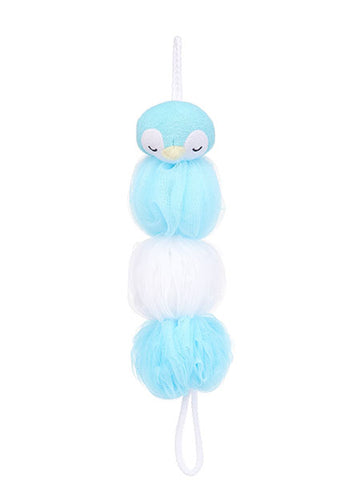 MINISO BLUE PENGUIN ELONGATED BATH SPONGE 0200041011 SHOWER SPONGE