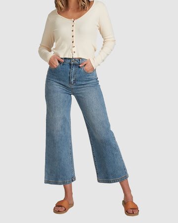 BILLABONG WINNIE WIDE LEG J 6508433-BLU DENIM PANT (JEANS) (W)
