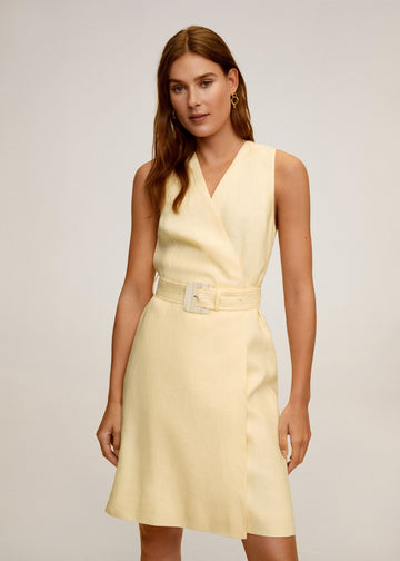 Mango Belt Linen Dress 67029025-11