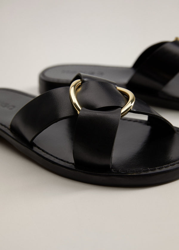 Mango Buckle Leather Sandals 67077664-99