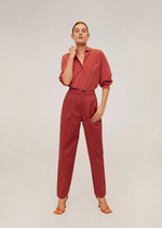 Mango Relaxed fit cropped trousers 67085925-87