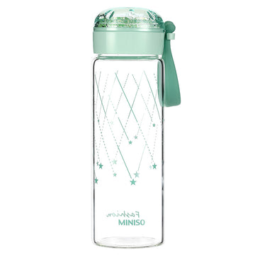 MINISO WATER BOTTLE 350ML-GREEN 2008125212108 GLASS WATER BOTTLE