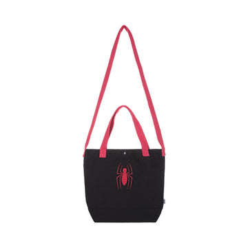 MINISO MARVEL- EMBROIDERED SHOPPING BAG,BLACK & RED 2007125111107 GROCERY BAG