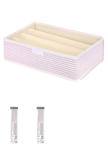 Miniso Stripe Series - 4 Grid Underwear Storage Box With Lid (Pink) 0300017602