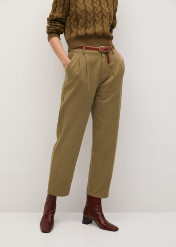 Mango Cotton Pleated Trousers 77037107-37