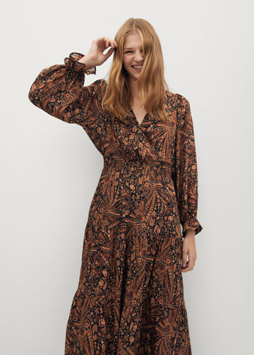 Mango Paisley Print Dress 77037624-30
