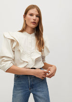Mango Ruffled Cotton Shirt 77047638-05
