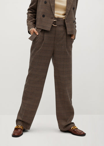 Mango Belt Check Trousers 77057614-30