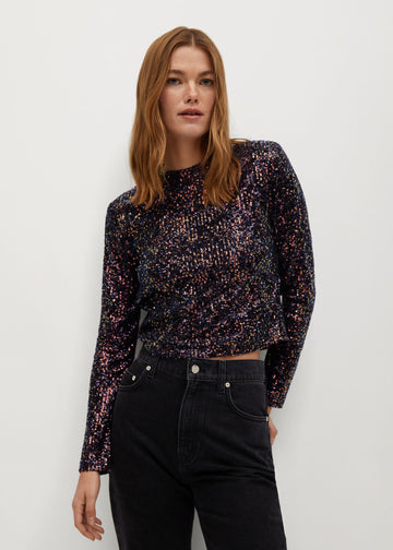 Mango Sequined Top 77099208-CO