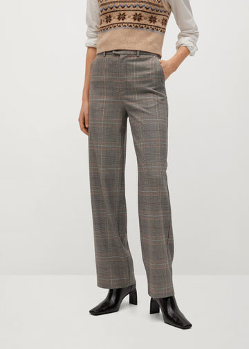 Mango Straight Checked Trousers 77099219-30