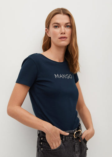 MANGO MANGOLOG 87000551-56 MANGO WOMEN T-SHIRT SHORT SLEEVE