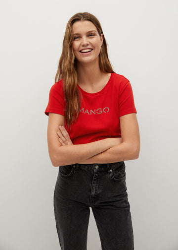 MANGO MANGOLOG 87000551-70 MANGO WOMEN T-SHIRT SHORT SLEEVE