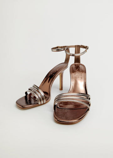 Mango Metallic Strap Sandals 87010043-OR