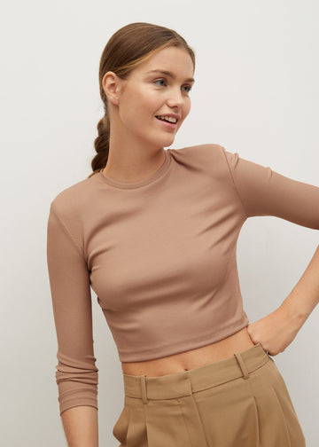 Mango Long Sleeves Crop T-Shirt 87010572-09
