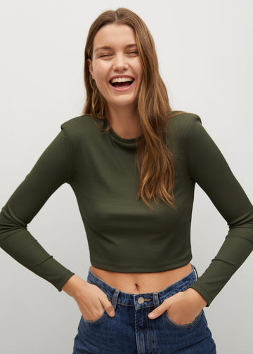 Mango Long Sleeves Crop T-Shirt 87010572-37