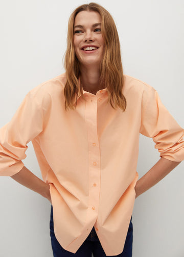 MANGO CORAL 87091018-87 MANGO WOMEN SHIRT LONG SLEEVE