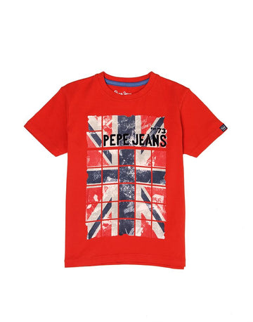 Pepe Jeans Mark Ss Ip PB502963 RED T-Shirt Short Sleeve Young Boys