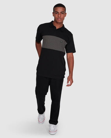 BILLABONG BANDED DIE CUT 9503026-BLK POLO T-SHIRT (M)