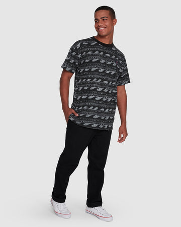 BILLABONG RACK STRIPE 9503030-BLK T-SHIRT SHORT SLEEVE (M)