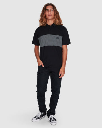 BILLABONG BANDED DIE CUT 9507140-BLK POLO T-SHIRT (M)