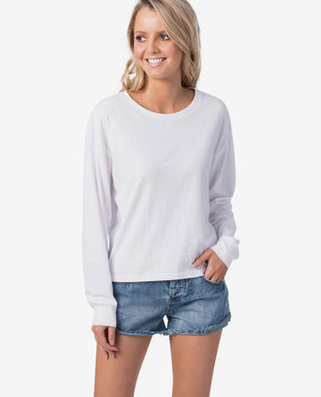 Rip Curl Essentials Crop LS Tee GTEID9-1000 T-Shirt Long Sleeve (W)