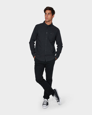 RVCA THAT WILL DO STRETCH LS R393198-BLK SHIRT LONG SLEEVE (M)