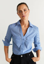 Mango Women Shirt Long Sleeve Planitap-N Camisa Plana 67050527-50