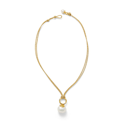 Golden Pebble Pearl Pendant