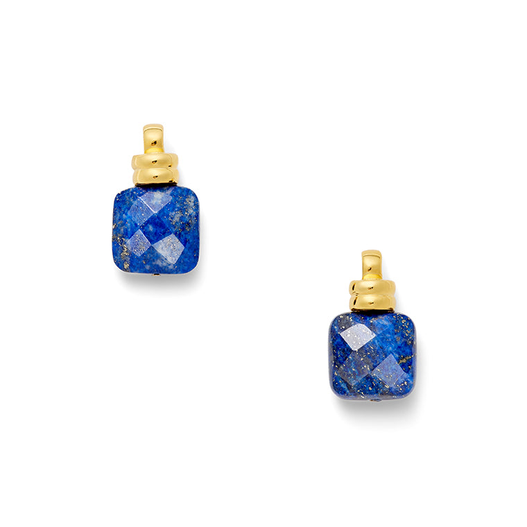 Load image into Gallery viewer, Golden Lapis Column Earring