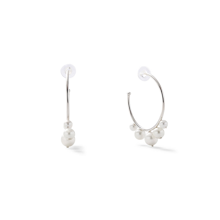 Pearl Swirl Earrings (Sterling+White)