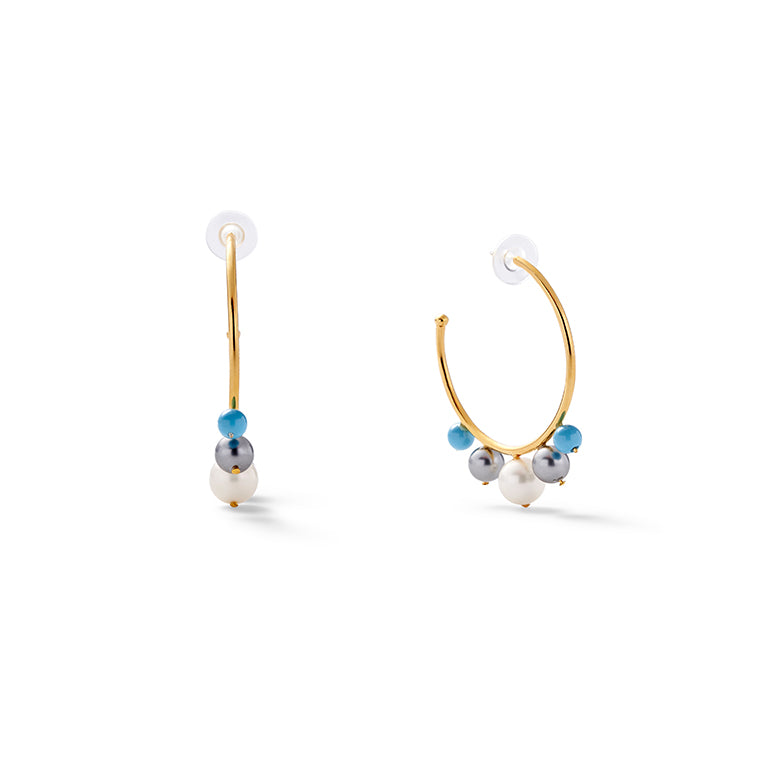 Turquoise + Pearl Swirl Earrings