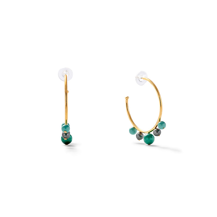 Malachite + Pearl Swirl Earrings
