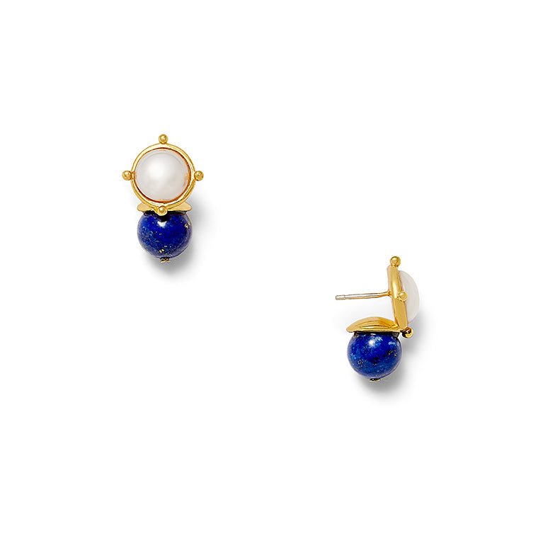 Load image into Gallery viewer, Lapis + White Lady Earring