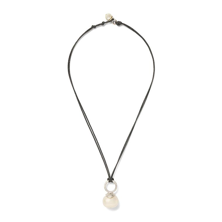 Sterling Pebble Pearl Cord Pendant