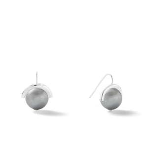 Sterling Large Pearl Sph-Earring