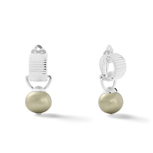 Sterling Scalloped Ear Clips with Detachable Drop