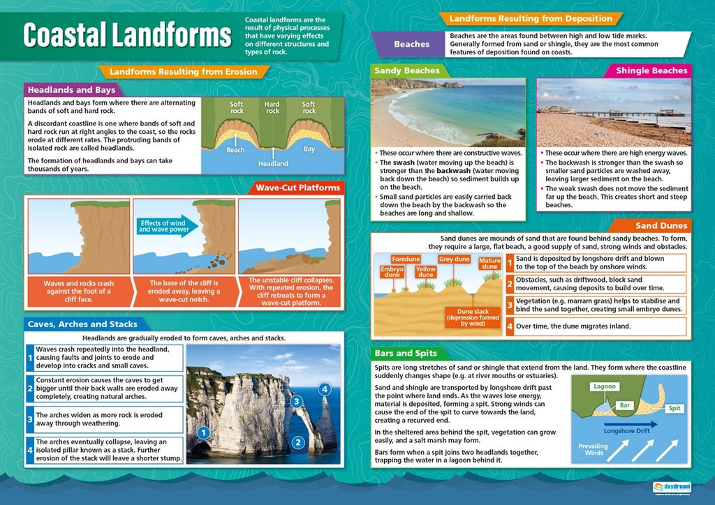 Bright Education Australia, Teacher Resources, Poster, A1 Poster, Geography, Biomes, Plants, Animals, Climate, Earth Science, Coastal Landforms, Beaches, Bays, Headlands