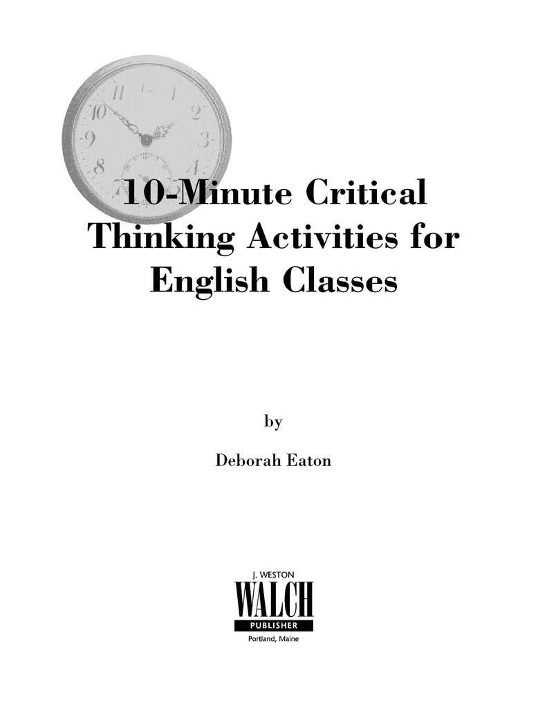 10 Minute Critical Thinking Activities for English,Bright Education Australia, Book, Grammar, English, School Materials, Games, Puzzles, Activities, Teacher Resources