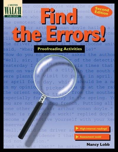 Find the Errors! Grades 7-9, Bright Education Australia, Book, Grammar, English, School Materials, Games, Puzzles, Activities, Teaching Resources