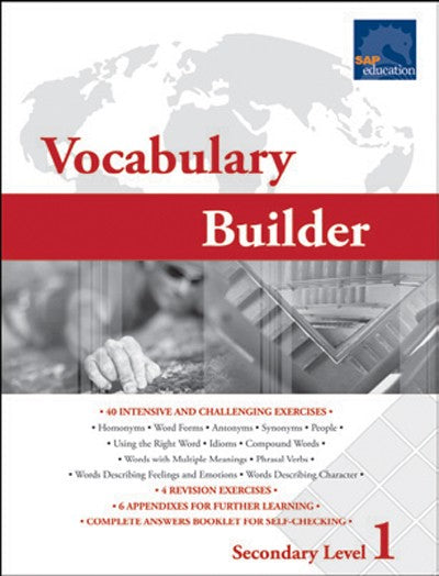 Vocabulary Builder Secondary Level 1, Vocabulary, Bright Education Australia, Book, Grammar, English, School Materials, Games, Puzzles, Activities, Teaching Resources