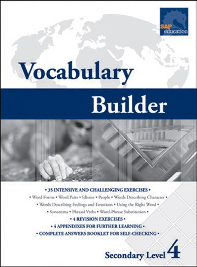 Vocabulary Builder Secondary Level 4, Vocabulary, Bright Education Australia, Book, Grammar, English, School Materials, Games, Puzzles, Activities, Teaching Resources