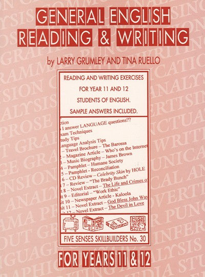 General English Reading & Writing for Years 11 & 12, Bright Education Australia, Book, Grammar, English, School Materials, Games, Puzzles, Activities, Teaching Resources, Exams, Tests