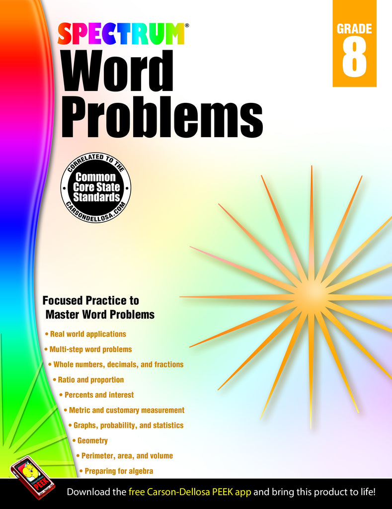 Bright Education Australia, Teacher Resources, Maths, Books, Spectrum Word Problems Grade 8