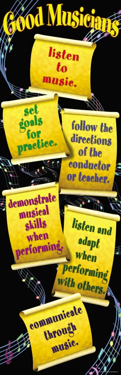 Bright Education Australia, Teacher Resources, Poster, Music, Music Basics, What Good Musicians Do, Colossal Poster