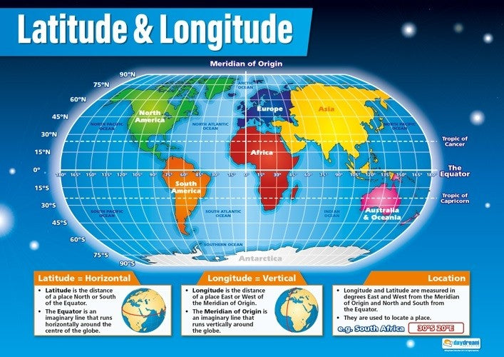 Bright Education Australia, Teacher Resources, Poster, A1 Poster, Geography, Climate, Earth Science, Latitude & Longitude